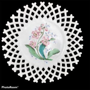 Vtg EAPG Challinor Taylor Hand Painted Lattice Milk Glass Floral Plate Cottage