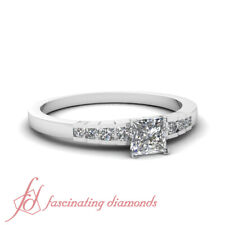 3/4 Carat Princess Cut Affordable Diamond Rings Channel Set With Round Accents