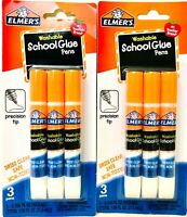 2 Packages Elmer's Washable School Glue 3 Count Pens Dries Clear Precision Tip