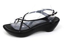 Donald Pliner Strappy Sandals Chava Black Leather Thong Slingback Women's Sz 10M