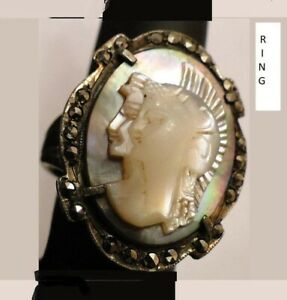 1 DOUBLE HEADED RING, Mother of Pearl Athena Hera, Female Warrior 925 Marcasite
