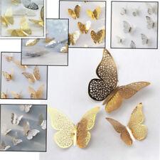 3D Schmetterlinge 12er Set Aluminium Wanddekoration Zimmerdeko Wandtattoo