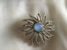 "Old Silver Coloured Flower Shaped Brooch With Centre Blue Stone 2"" In Diameter"
