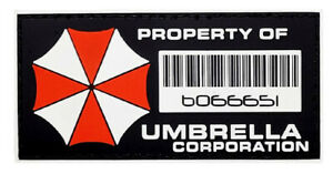 Resident Evil Property of Umbrella Corp Patch [PVC Rubber-Hook fastener -PP6]