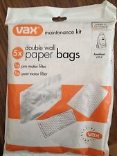 5 x Vax Genuine Double Wall Bags + Filters  V-014 / Vec-103 C90-BC-P-IR 2000W