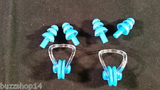 2 sets blue swimming waterproof silicone earplugs + nose clip soft swim ear plug