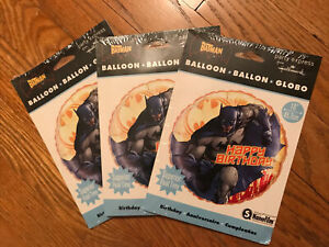 "Lot Of 3 Batman Cartoon Birthday Party Balloon 18"" Hallmark DC Comics Nanofilm"