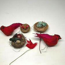 Vintage Flocked Birds and Nests Christmas Ornaments Cardinals Hummingbirds