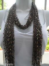 Handmade Ladder Ribbon Necklace Scarf Scarves Chocolate 2 piece scarf  Set