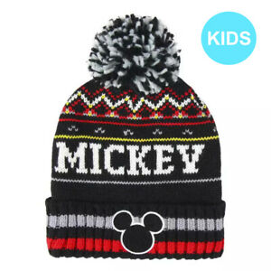 OFFICIAL DISNEY MICKEY MOUSE FACE ICON BLACK WINTER POM BEANIE HAT [KIDS]