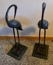 "Bronze Metal Crane Sculptures 21� & 19"" Tall~Two Piece Set~Bombay Co."