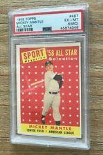 1958 Topps #487 Mickey Mantle HOF Yankees PSA 6 EX-MT (mc)