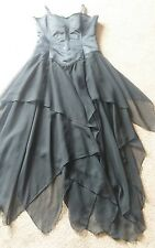 Gothic Cross Long Black Satin Lace DARK ANGEL Lace Up Corset Dress Waterfall 14