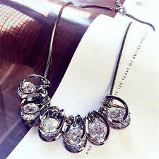 Women Big Crystal Choker Chunky Statement Bib Chain Pendant Necklace Jewelry