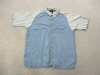 Nat Nast Button Up Shirt Adult Large Blue Brown Silk Casual Camp Mens *