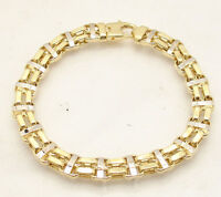 "8.5"" Mens Shiny Double Row Railroad Bracelet Real 14K Yellow White Two-Tone Gold"