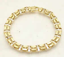"8.5"" Mens Shiny Double Row Railroad Bracelet Real 14K Yellow White Two-Tone Gold"