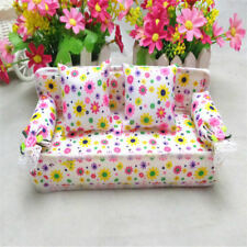 NEW Mini Sofa Flower Baby Toy Doll House Accessories Furniture Sofa + 2 Cushions
