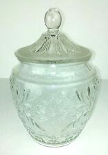 """Sandwich Glass Clear Cookie Jar Floral Leaves 11"""" Tall Vintage Kitchen Decor"""