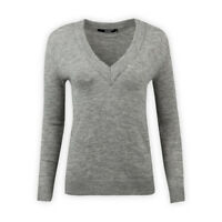 Womens Ladies Casual V-Neck Boxy Jumper Grey Wool Blend Sweater Top XS S M L XL
