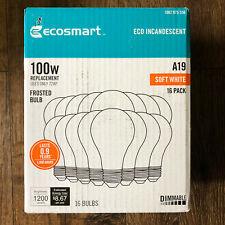EcoSmart 100-Watt A19 Halogen Light Bulb (16-Pack)