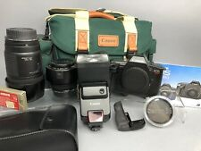 Canon EOS 620 35mm SLR Film Camera Right Grip Lenses Bag Flash EW-68B & ET-62