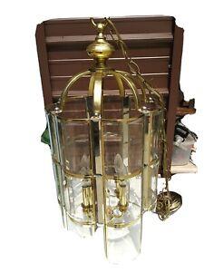 "Brass, Beveled Glass Chandelier Hanging Foyer Lamp, Lantern, Lighting 29x13"""