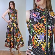 VTG 70s GEOFFREY BEENE Graphic Floral + Polka Dot Full Circle Maxi DRESS S-M