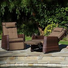 Set of 2 Outdoor Patio Furniture All-weather Wicker Glider Recliner Chairs