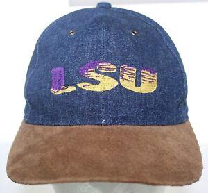 Vintage LSU Tigers Suede Bill Denim Hat NCAA Blue Jean Snapback Cap JJ of Dallas