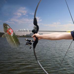 "54"" Black Fishing Recurve Bow Takedown Longbow Archery Fishing Reel Hunting 30lb"