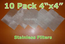 "(10 Pack) 4"" x 4"" - 25 Micron High Quality Stainless Steel Mesh- Rosin Tech"