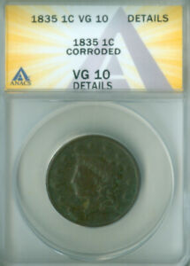 1835 Coronet Large Cent ANACS VG-10 Details FREE S/H (2127196)