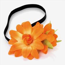 Orange tonal Double Fleurs Festival Bandeau sur cheveux noir long élastique