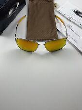 Oakley Deviation Polished Chrome Fire Iridium Inmate OO4061-03 Orange Ear Icons