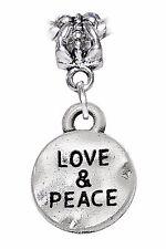 Love & Peace Hammered Inspirational Word Dangle Charm for European Bead Bracelet