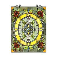 "Tiffany-Style Roses & Vines Stained Glass Window Panel 24"" Tall x 18"" Wide"