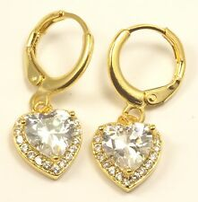 Women's 18 Carat Gold Plated Clear Heart Zircon Huggie Hoop Earrings Jewellery