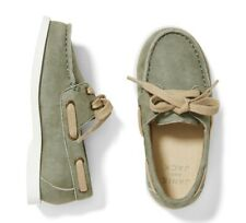 NWT Janie And Jack Boys Suede Genuine Leather, Olive, Size 7USA, Toddler Kid $69