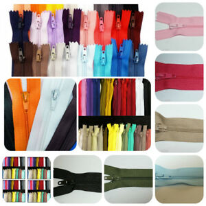 Closed End Nylon Zips All Sizes & Colours 7 inch to 22 inch Single Zip