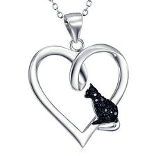 925 Sterling Silver Puppy Paw with CZ Eternity Love Heart Pendant Necklace