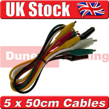 5 x 50cm Crocodile Clamp Alligator Clip Test Leads, 5 Colours