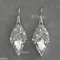 DROP EARRINGS 9K GF 9CT WHITE GOLD MADE WITH SWAROVSKI CRYSTAL STUD SPARKLING