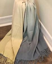 "Sferra Aqua & Celadon Ombré Cashmere Throw Blanket by Kelly Wearstler 50x70"""