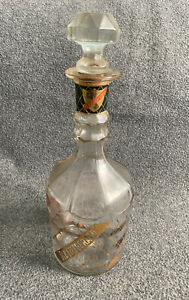 Vintage 1950s Gold Gilded & Checkered OLD FITZGERALD Decanter WHISKEY BOTTLE