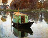 The Studio Boat by French Painter Claude Monet. Boat Art Repro Canvas or Paper