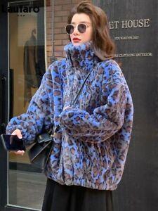 Winter Women Leopard Print Faux Fur Coat Long Sleeve Warm Jacket Casual Outwear