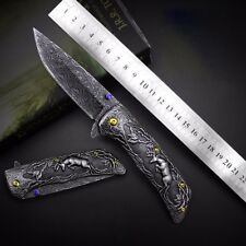 Handmade Hunting Knife Custom Damascus Pattern Stainles Steel Folding Camping