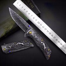 Handmade Hunting Knife Custom Damascus Stainles Steel Pattern Folding Camping