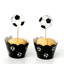 12sets Football World Paper Cupcake Wrappers Toppers Birthday Decor Cake Cup ^G